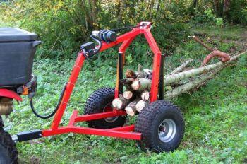 Rimorchio legna ATV con verricello elettrico