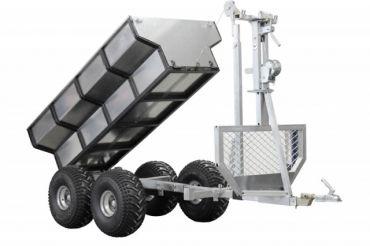 Rimorchio legna ATV + vano di carico + crane