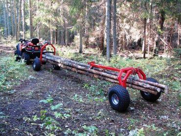 Carrello tronchi ATV con supporto posteriore e verricello elettrico