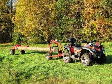 Carrello tronchi ATV con supporto posteriore e verricello manuale
